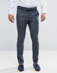 New Look Skinny Fit Linen Suit Trousers In Navy - Blue