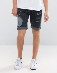 New Look Slim Denim Shorts With Rips In Wash Black - Black