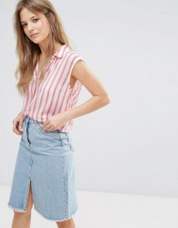 New Look Stripe Drawstring Shirt - White