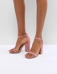 New Look Suedette Block Heel Sandal - Pink