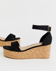 New Look suedette flatform sandal in black - Black