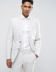 New Look Suit Jacket With Crosshatch Detail In Off White - Grey