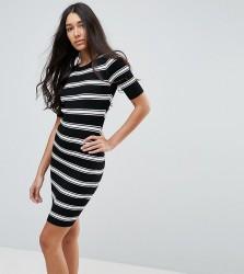 New Look Tall Striped Knit Dress - Black