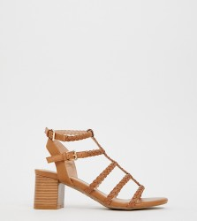 New Look Wide Fit plaited block heeled sandals in tan - Tan