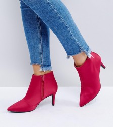 New Look Wide Fit Satin Mid Heeled Boot - Pink