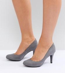 New Look Wide Fit Suedette Mid Heel Round Toe Court Shoe - Grey