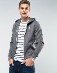 New Look Zip Through Hoodie In Grey Marl - Grey
