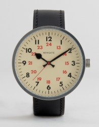 Newgate Grand Drummer Leather Watch With Vintage Style Dial - Black