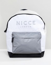 Nicce backpack in white with reflective logo - White