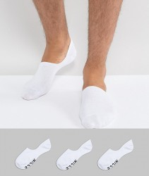 Nicce London 3 Pack Invisible Socks In White - White