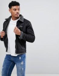 Nicce London Faux Shearling Jacket In Black - Black