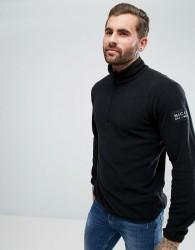 Nicce London Half Zip Track Top In Black Fleece - Black