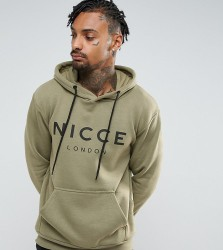 Nicce London Hoodie In Green With Large Logo - Green