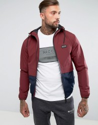 Nicce London Lightweight Jacket In Burgundy With Hood - Red