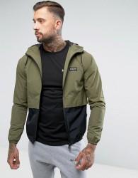 Nicce London Lightweight Jacket In Khaki With Hood - Green
