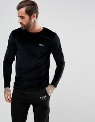 Nicce London Long Sleeve Top In Velour - Black