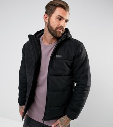 Nicce London Puffer Jacket In Black With Hood - Black
