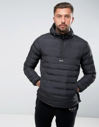 Nicce London Puffer Overhead Jacket In Black With Hood - Black