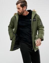 Nicce London Puffer Parka In Khaki With Faux Fur Hood - Green