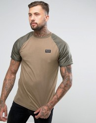 Nicce London T-Shirt With Nylon Sleeves - Green