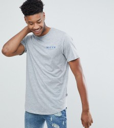 Nicce London TALL T-Shirt In Grey With Chest Logo - Grey