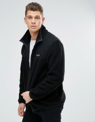 Nicce London Track Jacket In Borg - Black