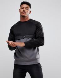 Nicce London Track Sweatshirt In Black With Grey Panel - Black