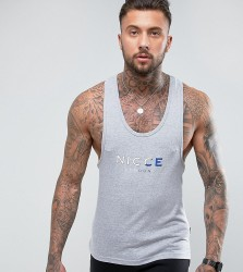 Nicce London Vest In Grey With Tri Colour Logo - Grey