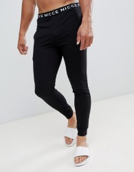 Nicce lounge cuffed joggers in black with waistband - Black