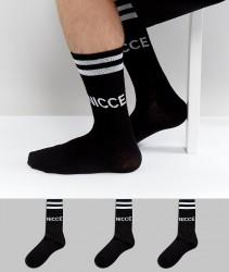 Nicce sports socks 3 pack in black - Black