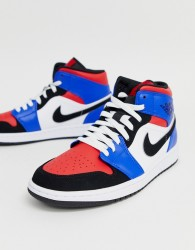 Nike Air Jordan Mid Trainers In Red and Blue - White