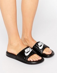 Nike Benassi Logo Sliders In Black - Black