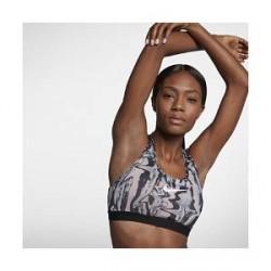 Nike Classic farvet marmor-design– sports-bh med medium støtte til kvinder - Lyserød