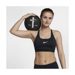 Nike Classic Strappy-sports-bh med medium støtte til kvinder - Sort
