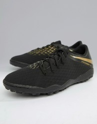 Nike Football Hypervenom Phantomx 3 Astro Turf Trainers In Black AJ3815-090 - Black