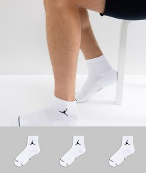 Nike Jordan 3 Pack Quarter Socks In White SX5544-100 - White