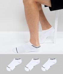 Nike Jordan 3 Pack Trainer Socks In White SX5546-100 - White