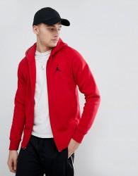 Nike Jordan Flight Fleece Zip Through Hoodie In Red 823064-687 - Red