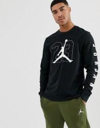 Nike Jordan Long Sleeve T-Shirt With Arm Print in Black - Black