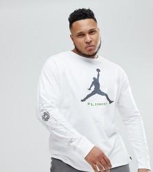 Nike Jordan PLUS Long Sleeve Top With Arm Print In White AA3272-100 - White