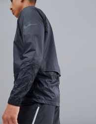 Nike Running Run Division Crinkle Effect Crew Jacket In Black 928497-010 - Black