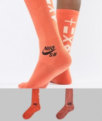 Nike SB 2 Pack Crew Socks In Orange SX6855-902 - Orange