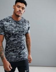 Nike Training Compression T-Shirt In Grey Camo 924853-065 - Grey