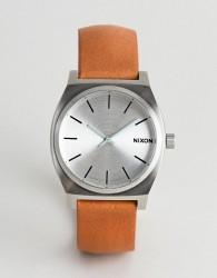 Nixon A045 Time Teller Leather Watch In Tan - Tan