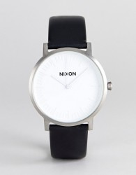 Nixon A1058 Porter Leather Watch In Black - Black