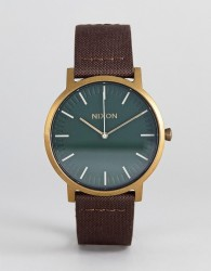 Nixon A1058 Porter Leather Watch In Brown - Brown