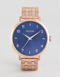 Nixon A1090 Arrow Bracelet Watch In Rose Gold/Blue - Gold