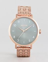 Nixon A1090 Arrow Bracelet Watch In Rose Gold/Green - Gold