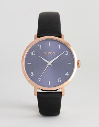 Nixon A1091 Arrow Leather Watch In Navy 38mm - Navy
