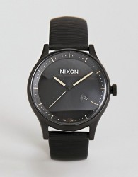 Nixon A1161 Station Leather Watch In Black 41mm - Black